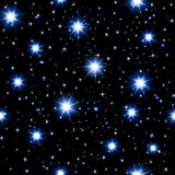 Night sky seamless pattern with glowing stars. Vector illustration stock illustration