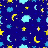 Night sky seamless pattern in vector Stock Photography