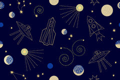Night sky. Seamless vector pattern with constellations, rockets, space ships, sp