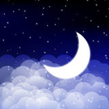 Night sky. With shiny Moon Stock Images