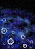 Night sky and snowflakes Stock Photo