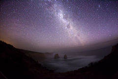 Night sky in the southern hemisphere with milky. Way, taken at Tweleve Apostles in Australia royalty free stock photos