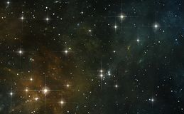 Night sky space background with nebula and stars. 3D illustration Stock Photo