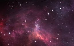 Night sky space background with nebula and stars. 3D illustration Royalty Free Stock Photo