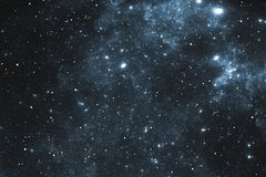 Night sky space background with nebula and stars. 3D illustration Stock Image