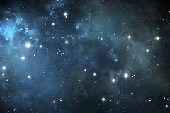 Night sky space background with nebula and stars. Illustration Royalty Free Stock Images