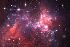 Night sky space background with nebula and stars. Illustration Stock Photo