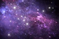 Night sky space background with nebula and stars. Illustration Royalty Free Stock Photo