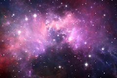 Night sky space background with nebula and stars. Illustration Stock Images