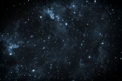 Night sky space background with nebula and stars. 3D illustration Stock Images