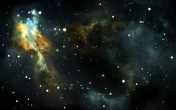 Night sky space background with nebula and stars. 3D illustration Stock Photos