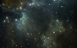 Night sky space background with nebula and stars. 3D illustration Royalty Free Stock Images