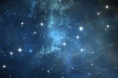 Night sky space background with nebula and stars. Illustration Stock Photography