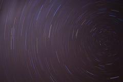Night Sky Star Trails. A time lapse photo of the southern hemisphere night sky Stock Photo