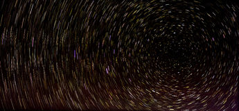 Night sky star trails photograph Royalty Free Stock Images