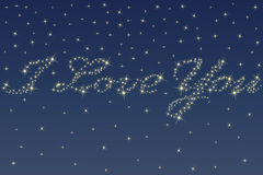 Night sky and stars. Deep night sky and beautiful stars sparkling in the shape of a love declaration Stock Image