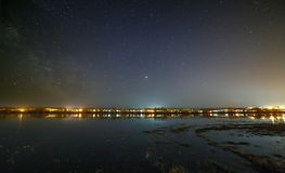 Night sky with stars above the river during the spring flood. View of the starry space Royalty Free Stock Photo