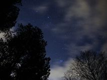 Night sky stars Auriga and Taurus constellation pleiades open star cluster royalty free stock images