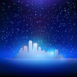 Night sky with stars and city background Royalty Free Stock Photos
