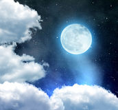 Night sky. With stars, clouds and moon Royalty Free Stock Photo