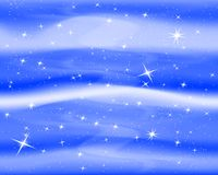 Night sky with stars and clouds. Sparkle starry blue background. Nice design for baby room. Vector illustration. EPS 10. Night sky with stars and clouds stock illustration