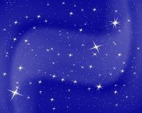 Night sky with stars and clouds. Sparkle starry blue background. Nice design for baby room. Vector illustration. EPS 10. Night sky with stars and clouds royalty free illustration