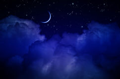 Night Sky with Stars and Clouds Stock Images