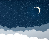 Night sky with stars and crescent m Royalty Free Stock Image