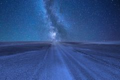 Night sky with stars in the desert royalty free stock photo