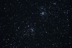 Night sky stars and double cluster observing Royalty Free Stock Image