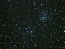 Star field with Double cluster stars in perseus constellation night sky Stock Photo