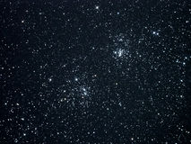 Night sky stars, double cluster in Perseus constellation Stock Photos