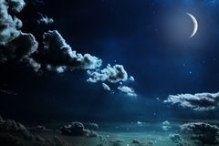 Night sky with stars and full moon background Royalty Free Stock Images