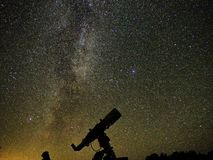 Night sky stars and Galaxies observing over telescope royalty free stock photos