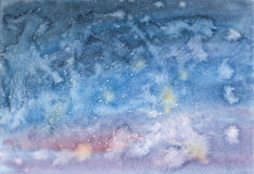Night sky with stars hand drawn watercolor. Night sky with stars hand drawn watercolor Royalty Free Stock Image