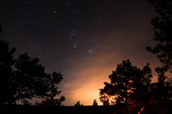 Night sky with stars on the Ladoga royalty free stock photo