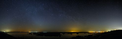 Night sky with the stars of the Milky Way galaxy. Panoramic view. Of the starry space Stock Photo