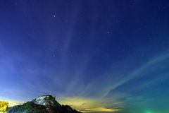 Night sky stars with milky way on mountain background Stock Photo