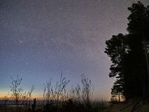 Night sky stars and milky way observing, Cassiopeia constellation. Night Sky observing after sunset stock photo