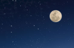 Night sky with stars and moon. Night sky with a lot of stars and moon Royalty Free Stock Photo