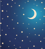 Night sky with stars and moon.  illustration Stock Image