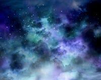 Night sky with stars and nebula. Royalty Free Stock Photos