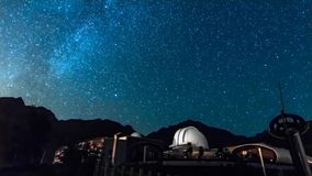 Night sky stars observatory in Val D'Aosta. Italy stock video