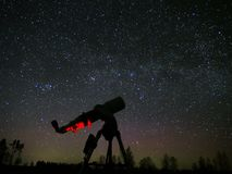 Milky way stars and telescope on night sky Royalty Free Stock Image