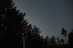 Night sky stars observing over reflector telescope Stock Photography