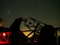 Night sky stars observing in telescope Stock Photo