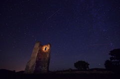 Night sky with stars and old ruins 3 Stock Photography
