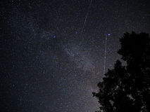 Night sky stars perseids meteors cygnus constellation Stock Image