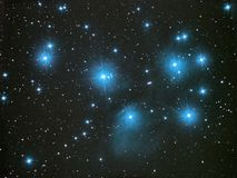 Night sky stars, Pleiades open star cluster M45 in Taurus constellation royalty free stock images