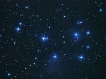 Night sky stars, Pleiades open cluster M45 in Taurus constellation. Night sky stars, Pleiades open cluster (M45) in taurus constellation Royalty Free Stock Photos